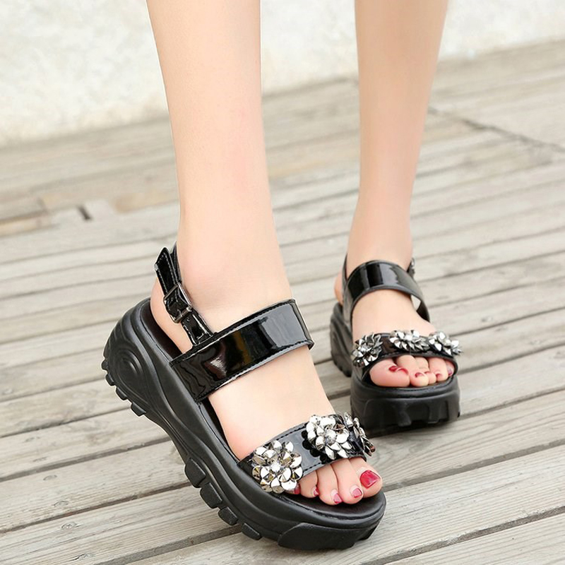 E TOY WORD Women Sandals 2019 Fashion Crystal summer shoes Black Platform Sandals Ladies Wedge shoes Female High Heels Sandals in Women 39 s Sandals from Shoes