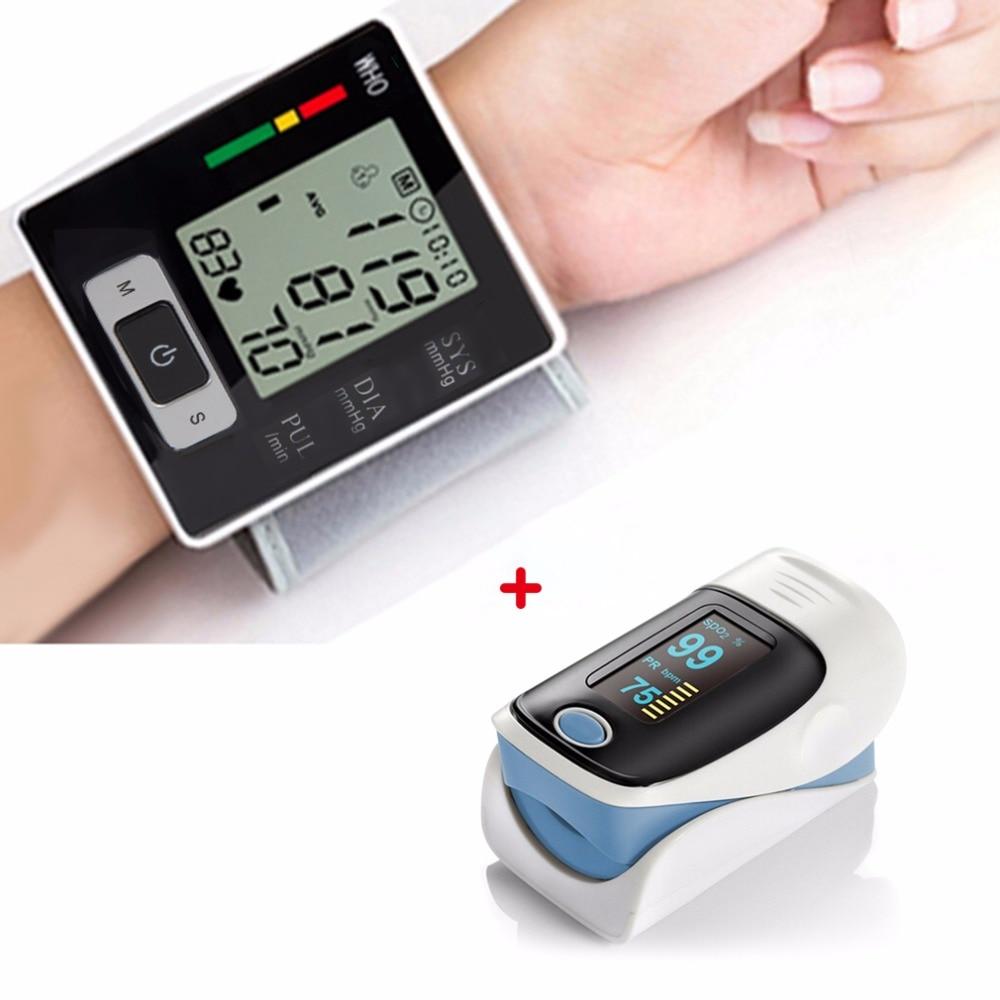 Automatic Wrist Blood Pressure Monitor Digital Heart Beat Meter + Fingertip Pulse Oximeter RZ001 SPO2 Pulse Rate Oxygen Monitors pro f4 finger pulse oximeter heart beat at 1 min saturation monitor pulse heart rate blood oxygen spo2 ce approval green