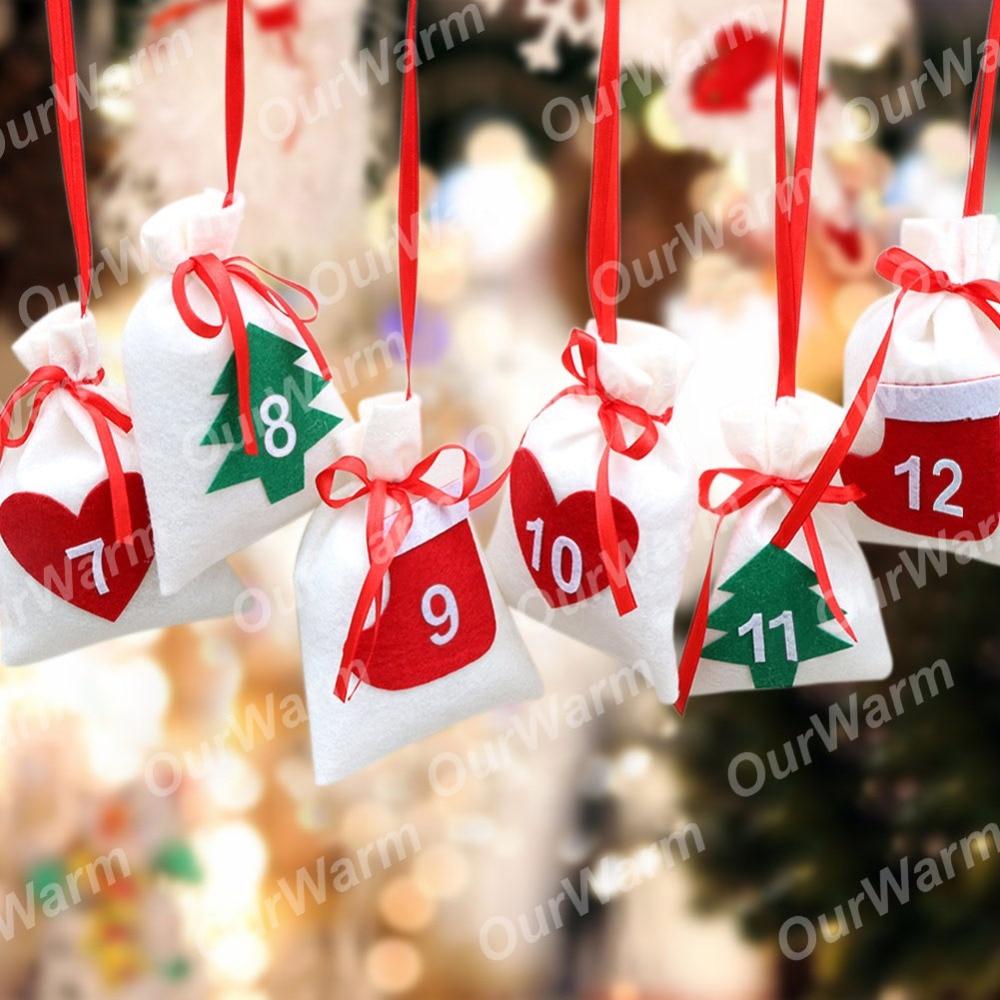 Christmas Date.Ourwarm Diy Christmas Felt Fabric Advent Calendar Date 24th 31th Christmas Tree Ornament 11x16cm Gift Bag New Year Decoration Christmas Decorations