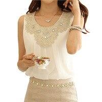 Camisas Blusas Feminina 2015 Summer Tops Ladies Loose Sleeveless Vest Chiffon Blouse Shirt Women Blouses Woman