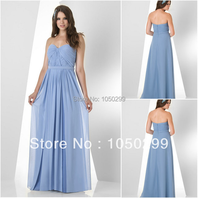 Bridesmaid Dresses 2014 Hot Sale Periwinkle Chiffon Sweetheart