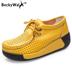 BeckyWalk 2019 Spring Women Genuine Leather Shoes Women Platform Sneakers Cutouts Summer Lace Up Moccasins Shoes Woman WSH2732 1