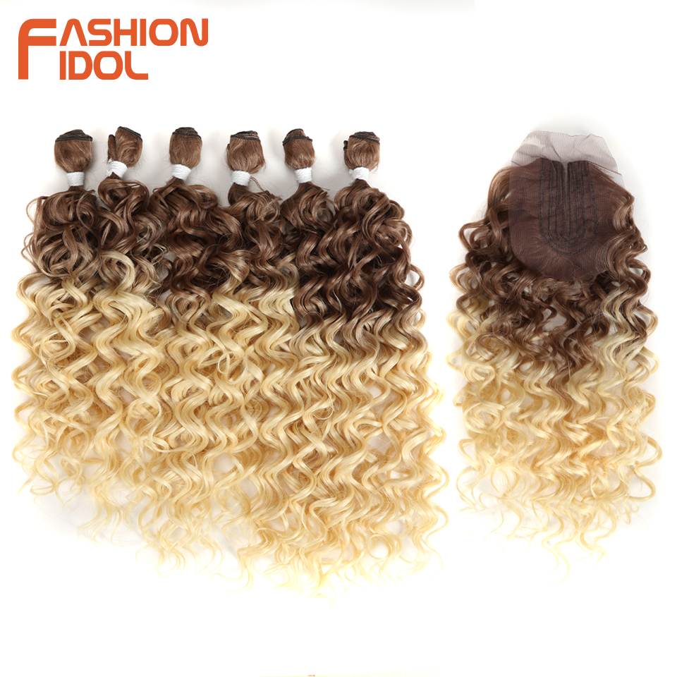 FASHION IDOL Deep Wave Bundles With Closure Synthetic Hair Extension Water Wave Ombre Blonde 613 Hair 7Pcs/Pack 26inch Full Head