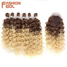 Глубокая волнистая пряди IDOL с закрытием, синтетические волосы для наращивания, волнистые Ombre светлые волосы 613, 7 шт./упак., 26 дюймов, полная голова