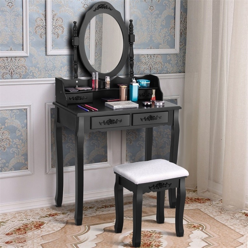 Bedroom Mirror Wood Makeup Table Stool Set Bedroom High Quality Furniture Dresser HW52948