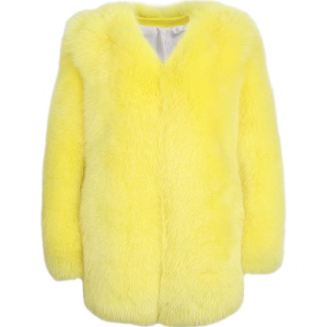Donne reale della pelliccia del cappotto della signora del cappotto di pelliccia naturale inverno pelle pieno di volpe cappotto di pelliccia