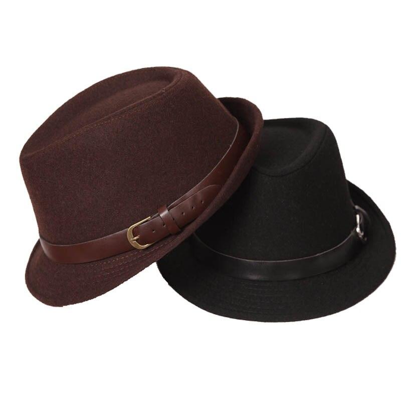 FS clásico Otoño Invierno para hombre sombrero de lana Jazz Fedora con  cinturón de las mujeres de ala ancha sombrero negro gris marrón de fieltro  sombreros ... db2ea11feac