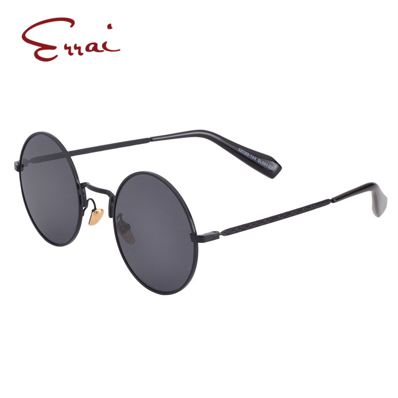 ERRAI Fashion Vintage Steampunk Round Mirror Sunglasses Men Women Metal Retro Black Sunglasses UV400 Man Sunglasses Brand 2018