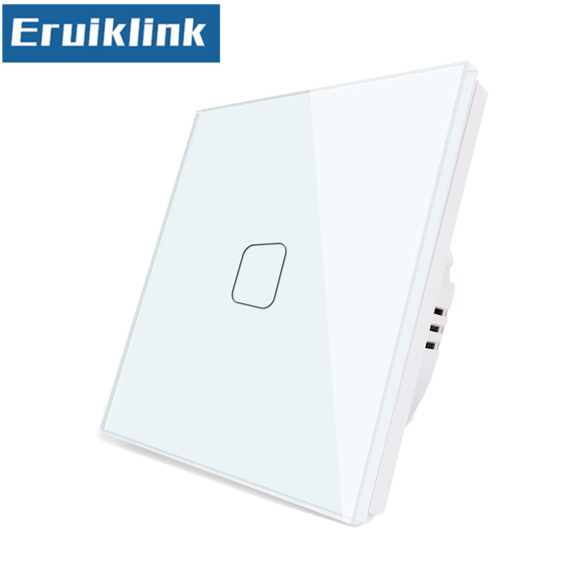 EU/UK Standard Light Switch,1/2/3 Gang 1 Way Crystal Glass Panel Single Fireline Wall Touch Switch Can't Be Remote Controlled