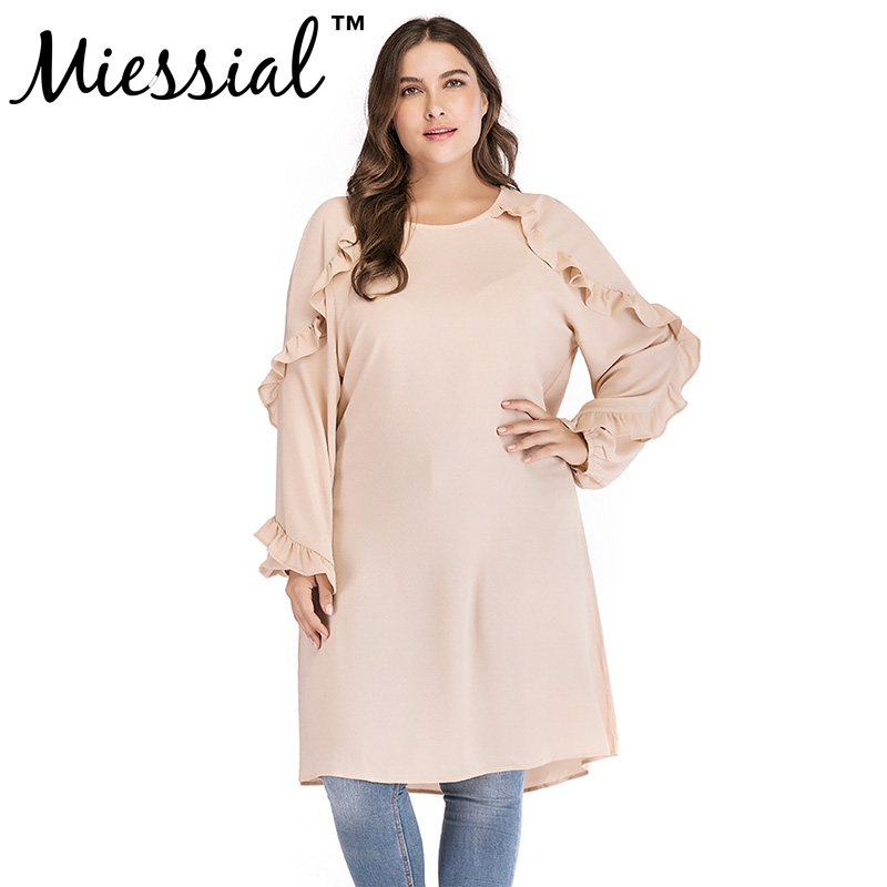 Miessial women Casual long Blouse Shirt Plus Size 2018 Autumn Ruffle Long Sleeve Blouse Sexy Split Irregular Shirt Chiffon