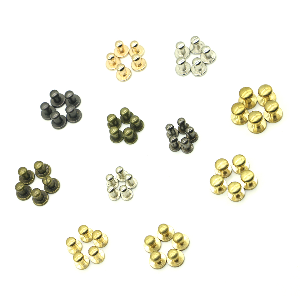 New 20sets/pack 4mm (Diameter), 8mm (Height) leather iron brass studs for clothing screw rivets B-04