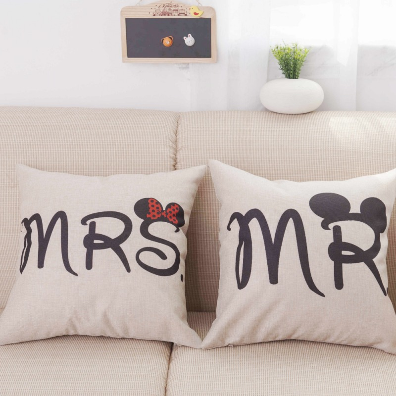 Pillow Cushion Covers Mickey Mouse Style Letters Mr and Mrs Cute Bed Pillows Decorative Cotton Linen Waist Cushion Pillow Cases