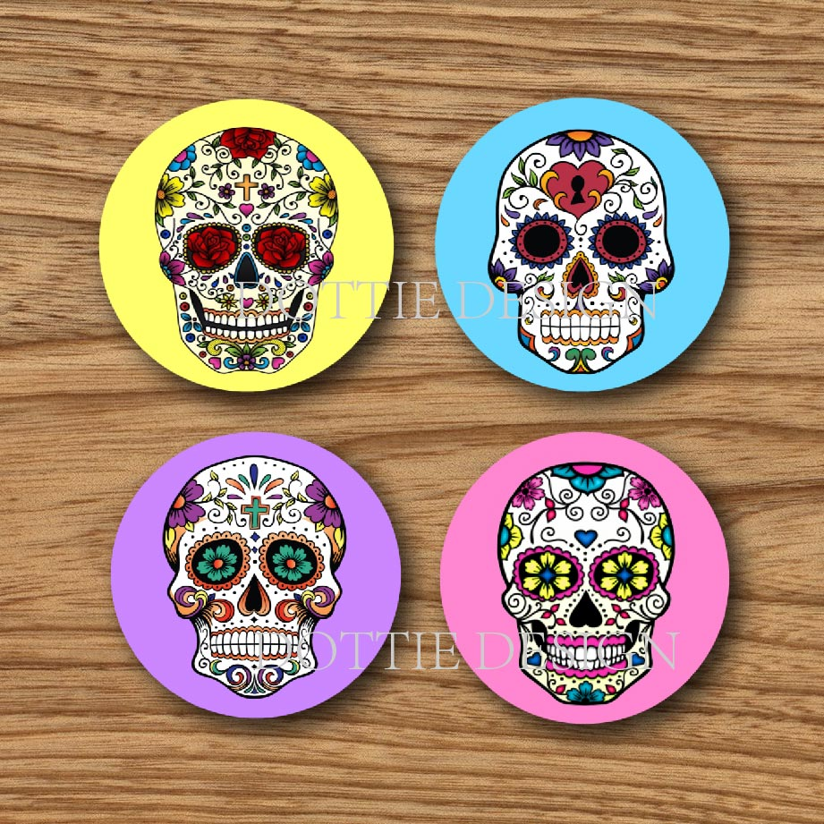 Set of 4 Mexican Sugar skull Cup coasters round wood mdf coaster ...