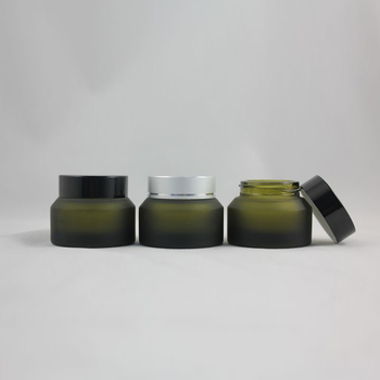 30pcs wholesale 30g olive green frosted glass cream jar with black or silver aluminum cap, 30g glass cosmetic jar for eye cream