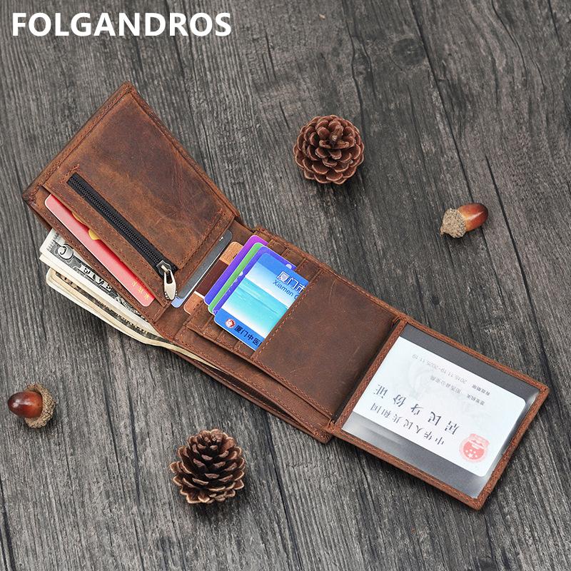 Men's Genuine Leather Wallet with 2 Zipper Pocket Handmade Vinatge Bifold Wallet Crazy Horse Leather Coin Pocket Purse-in Wallets from Luggage & Bags on AliExpress - 11.11_Double 11_Singles' Day 1