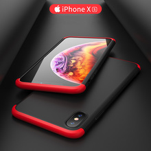 GKK Case for iphone X XS MAX 360 Full protection 3 in 1 Design Ultra Thin Hard PC Shockproof Back Cover