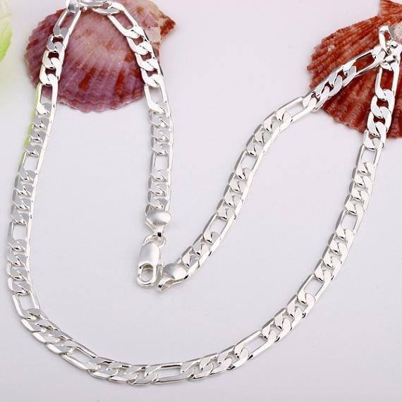 35-70cm 925 solid silver plated Slim Figaro Chain Necklace Women Girl Italy Jewe
