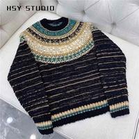 【HSY Studio】 2019 autumn new egyptian style women customized blue&gold mixed yarns long sleeve o neck stripe black sweater