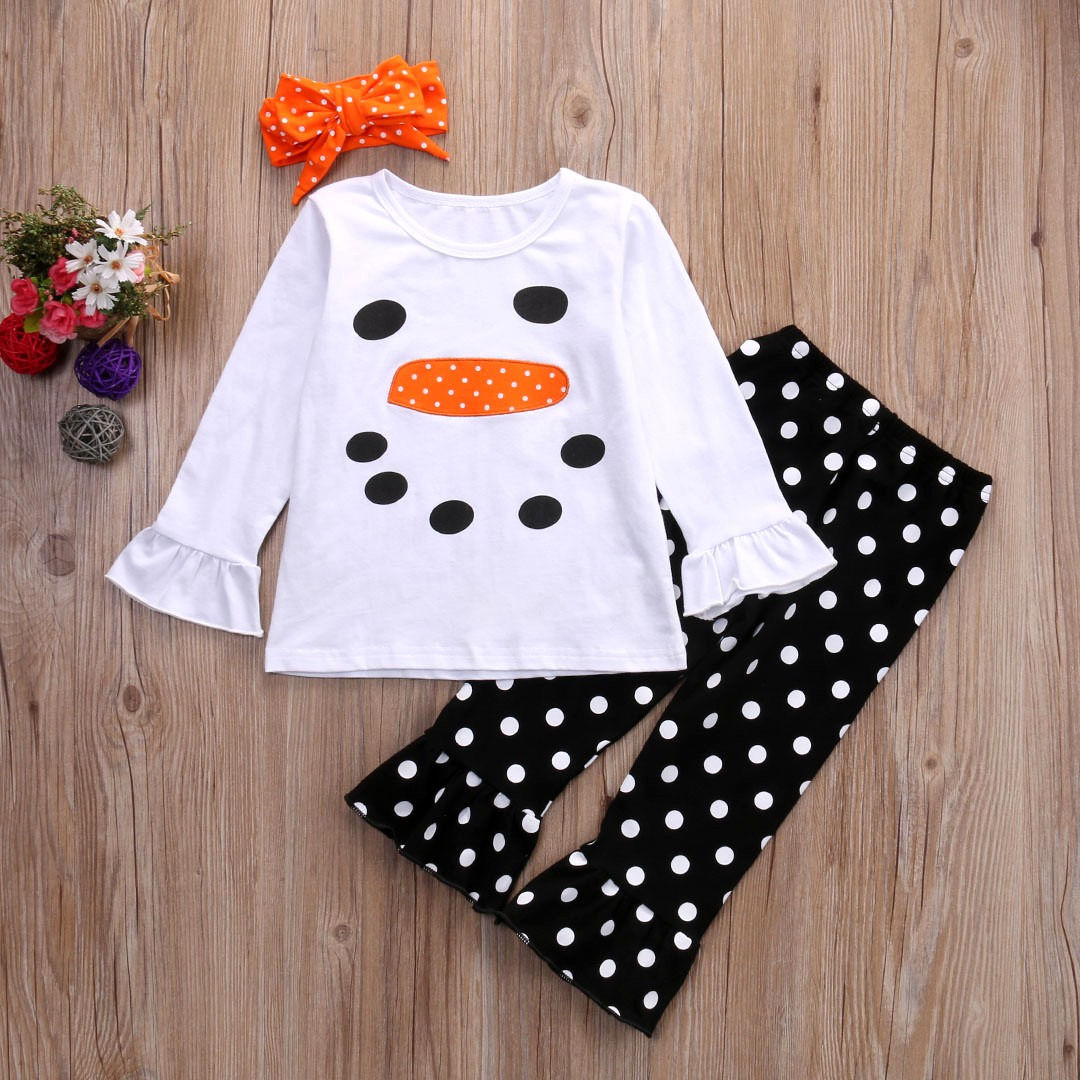 XMAS Toddler Baby Girls Flower Top Blouse Pants Kids Outfits Set Clothes USA
