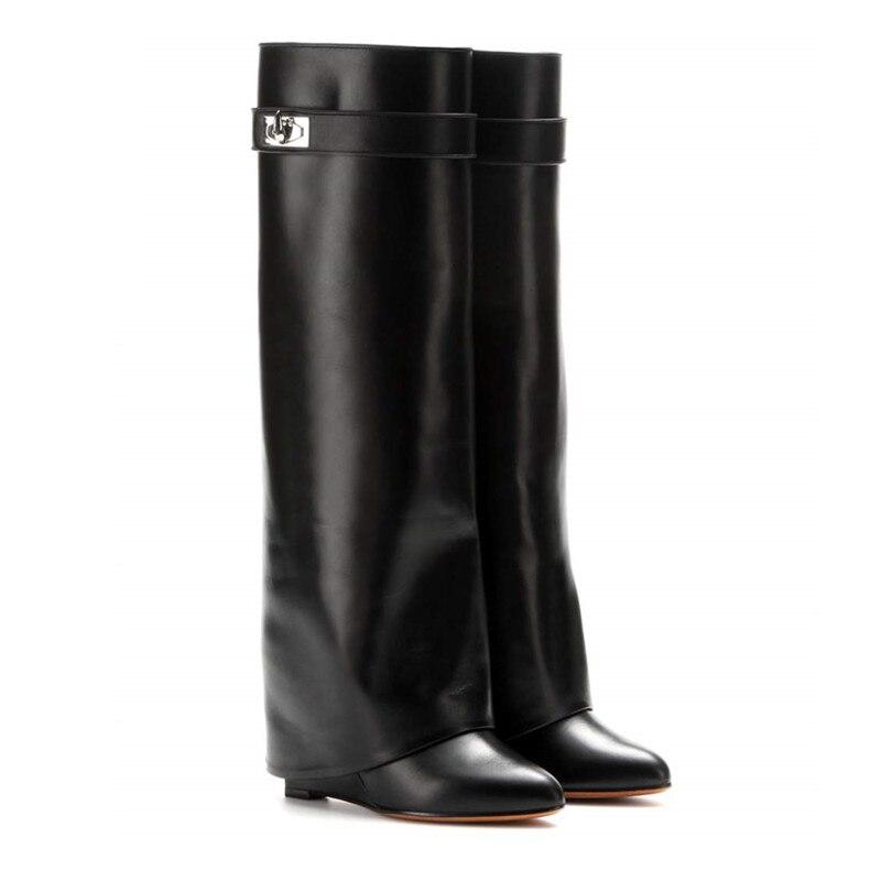 Mstacchi requin Lock femmes Wedge genou bottes hautes en cuir noir pli bottes à talons hauts femme bout pointu cales Botas grande taille 10-in Bottes hautes from Chaussures    2