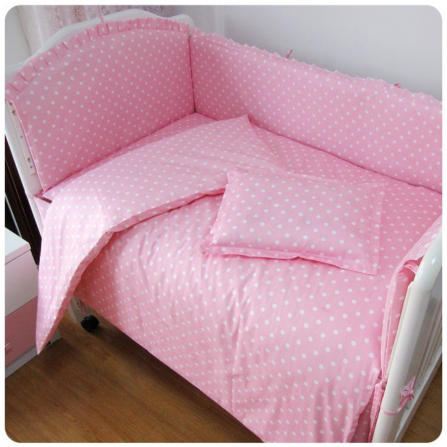 цены Promotion! 6PCS Pink Point 100% Cotton Cartoon New Baby Bed Baby Crib Bedding,Baby Bedding Sets (bumpers+sheet+pillow cover)