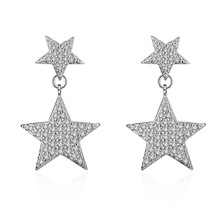 High quality fashion shiny crystal two little star women gift 925 sterling silver ladies`stud earrings jewelry promotion cheap