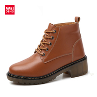 WeiDeng Genuine Leather Boots Short Plush Warm Motorcycle Women Ankle High Heel Lace Up Work Shoes