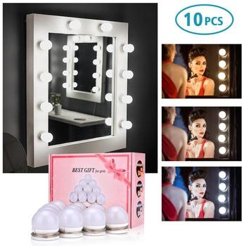 10 LED Light Bulbs Lamp Kit Vanity Makeup Mirror 3 Colors Brightness Adjustable Lighted Hollywood Style Make up Cosmetic Mirrors