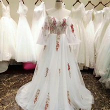 AMANDA NOVIAS Backless Flowers Pattern wedding dresses