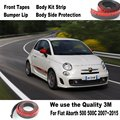 Car Bumper Lips For Fiat Abarth 500 500C 2007~2015 / Car Tuning / Body Kit Strip / Front Tapes / Body Chassis Side Protection