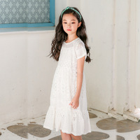Girls Lace Dress Summer 2019 Korean Style Teens Girl White Dress Big Children's Fashion Princess Dress Lining Clothes GDR656