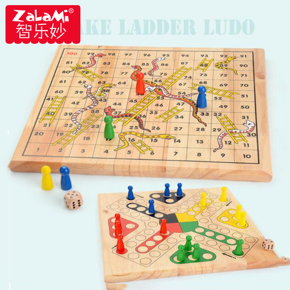Wooden snake ladde Ludo Game Parent-child Interaction Family Game Interactive Game Flying Chess Children Early Learning Toys russian roulette party balloon gun model creative adult toys family interaction game lucky roulette tricky fun gifts interactive