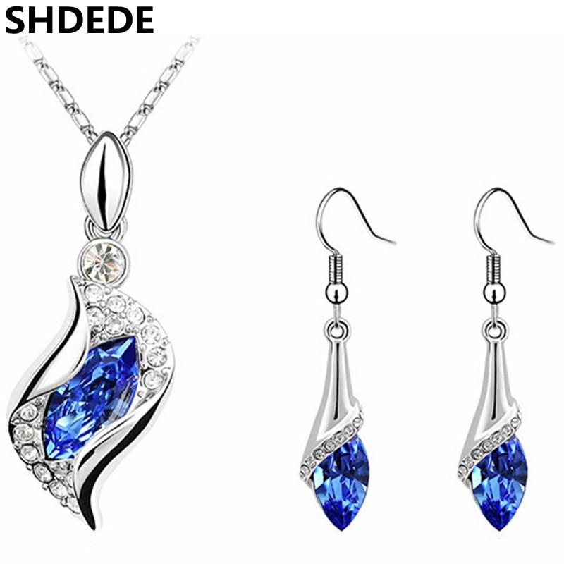 3d2ede30572d Cristal azul de Swarovski Elements joyas aretes de moda mujeres 2018 nuevo  largo gota pendiente 2812
