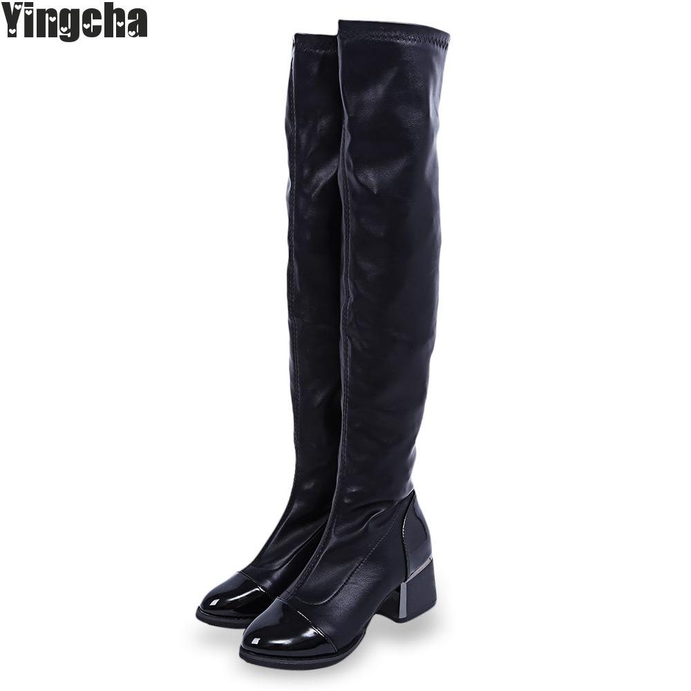 2018 Fashion Spring Autumn Pu Women Knee High Boots Black Soft Leather Fashion New Female Thick High Heels Boots Shoes Plus Size nemaone plus size hot spring autumn women boots sexy high heel over the knee soft pu leather black white fashion high boots