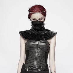 Панк рейв женский стимпанк искусственная кожа оборки Поддельный Воротник WS293KZF