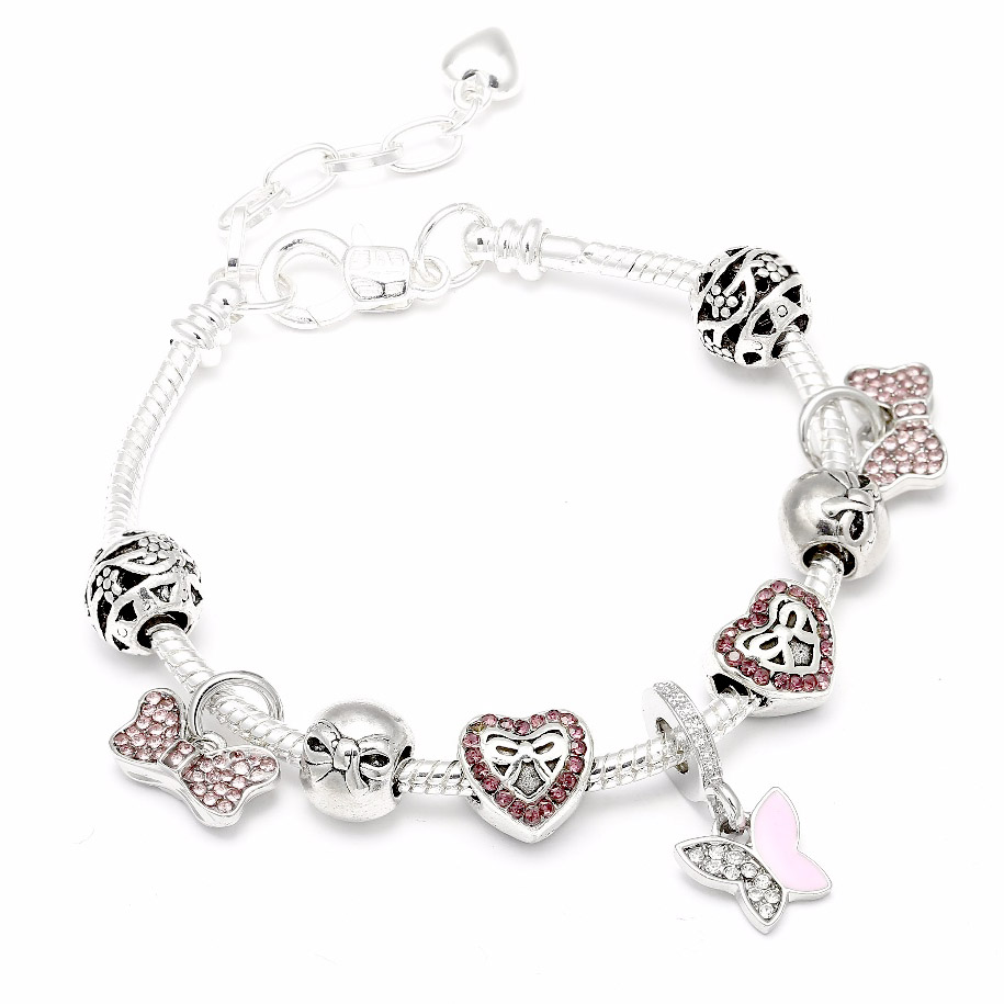 Fashion Jewelry Bow Tie Murano Charms Bracelets Bangles
