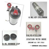 2018 NEW Paintball Accessories 6.8L Carbon Fiber Cylinder +Red Safety Valve+Filling Station with Hose +6.8L Rubber Protect Cup