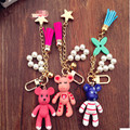 Violence bear doll knitted keychain key chain car key ring lovers pendant