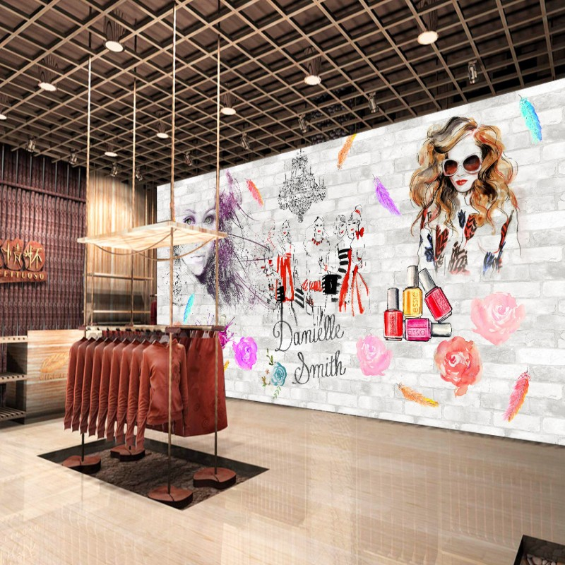 Custom 3d Wallpaper  Hand Painted Watercolor Cosmetics Wallpaper Mural Beauty Salon Barber Shop Decoration Background
