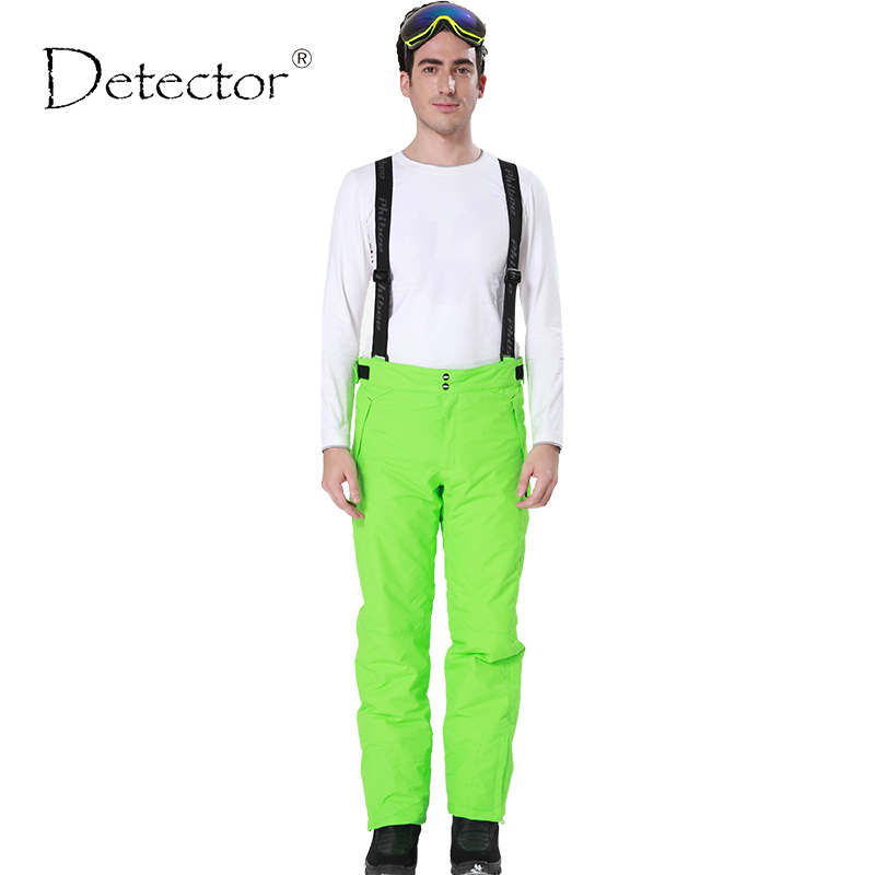 Detector New Outdoor Windproof Waterproof Breathable Double Layer Winter Ski Pants Snow Trousers Ski Snowboarding Pants Man