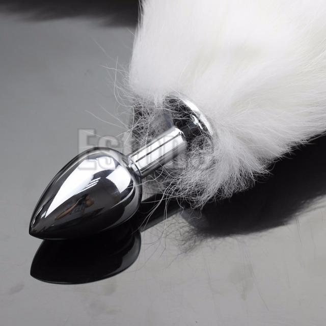 Fox Tail Butt Metal Plug 35cm Long Anal Sex Toy