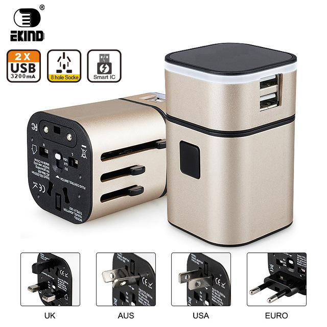 EKIND All in One Universal International Plug Adapter 2 USB Port World Travel AC Power Charger Adaptor with AU US UK EU Plug