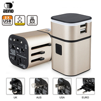 EKIND All In One Universal International Plug Adapter 2 USB Port World Travel AC Power Charger