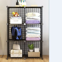 6 Big Grids Steel Wire Mesh Store Cube Storage Rack Foldable Storage Rack Black Organizing Bookrack Furniture Home Organizer