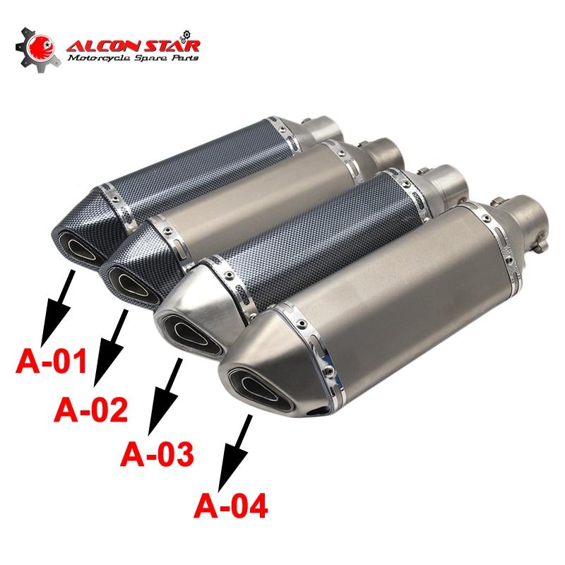 Alconstar 51mm Universal Motorcycle Akrapovic Yoshimura Exhaust Muffler Pipe Escape Moto CBR125 CB400 TMAX530 GSXR650 Racing