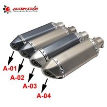 Alconstar  51mm האוניברסלי אופנוע AK יושימורה עמעם פליטת צינור בריחה Moto CBR125 CB400 TMAX530 GSXR650 מירוץ