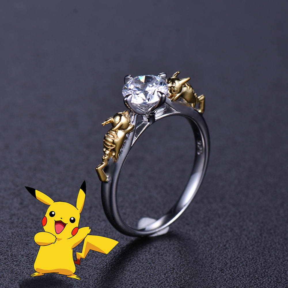 Pikachu Crystal Ring Sterling 925 Silver Pokemon Valentine s Day Gift Engagement Ring