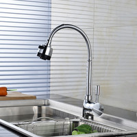 Chrome Kitchen Sink Faucet Large Universal Pipe Bend Water Tap Solid Brass Kitchen Mixer Faucet Cold and Hot Kitchen Sink Taps