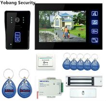 "Yobang Security Freeship 7"" Video Door Phone Doorbell Intercom Kit Door Intercom With Electric Lock And Power Supply Control"