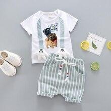 цены на 2019 new Baby Boys Clothes Sets Spring Summer Fashion T-shirt + Shorts Newborn children Girl Clothing Kids Suits  в интернет-магазинах
